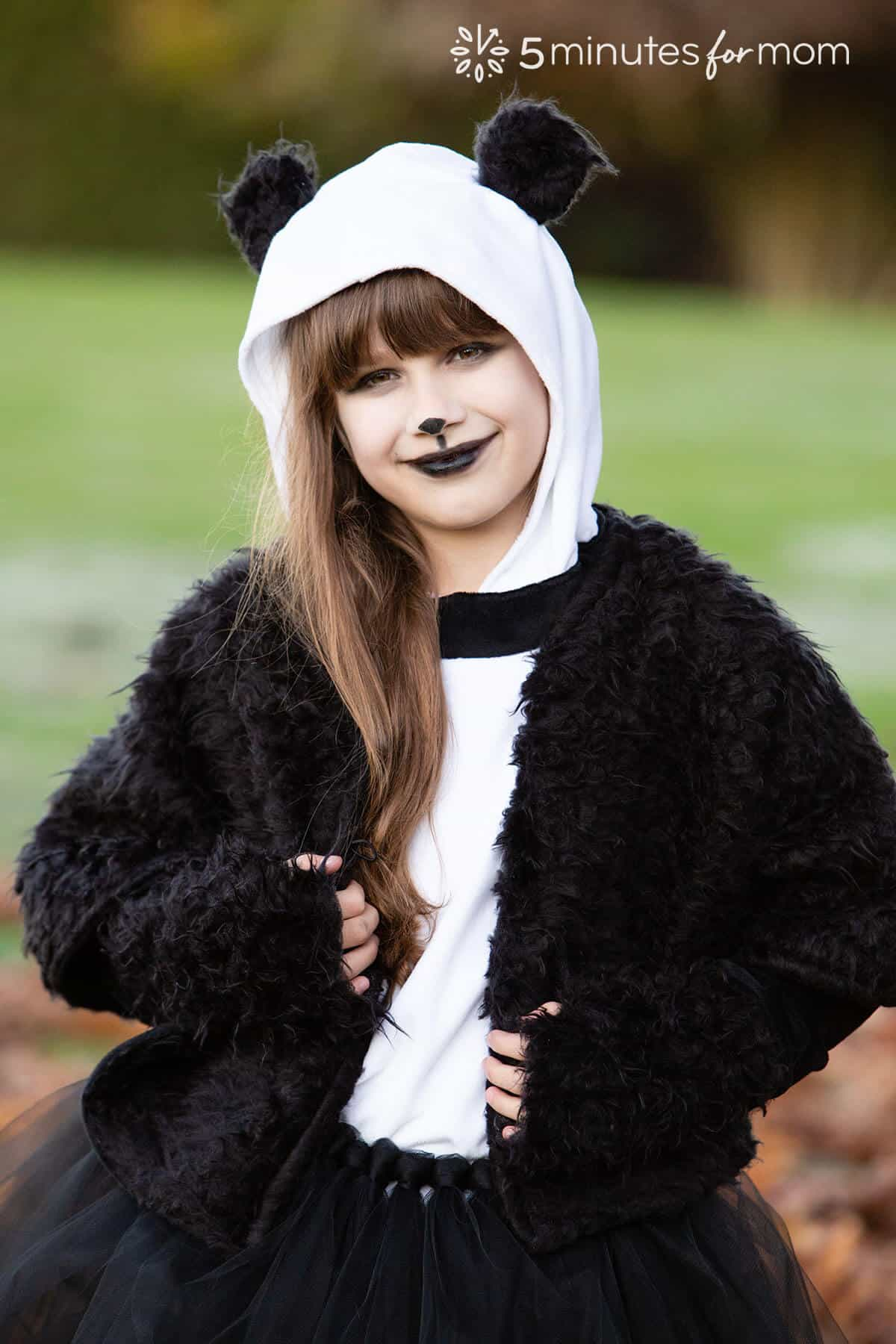 Panda costume with faux fur capelet