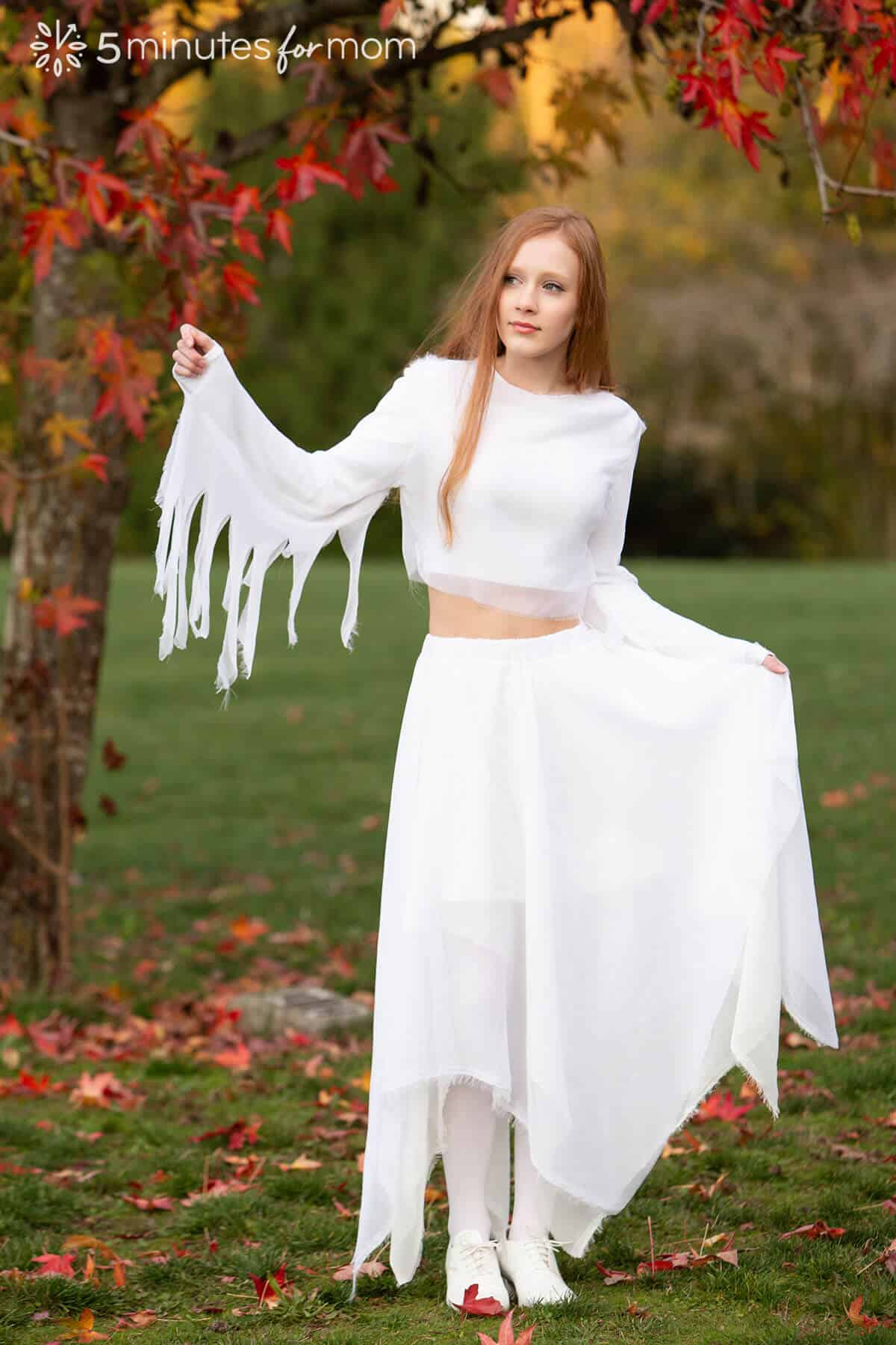 how to sew handkerchief skirt and tattered top for ghost costume