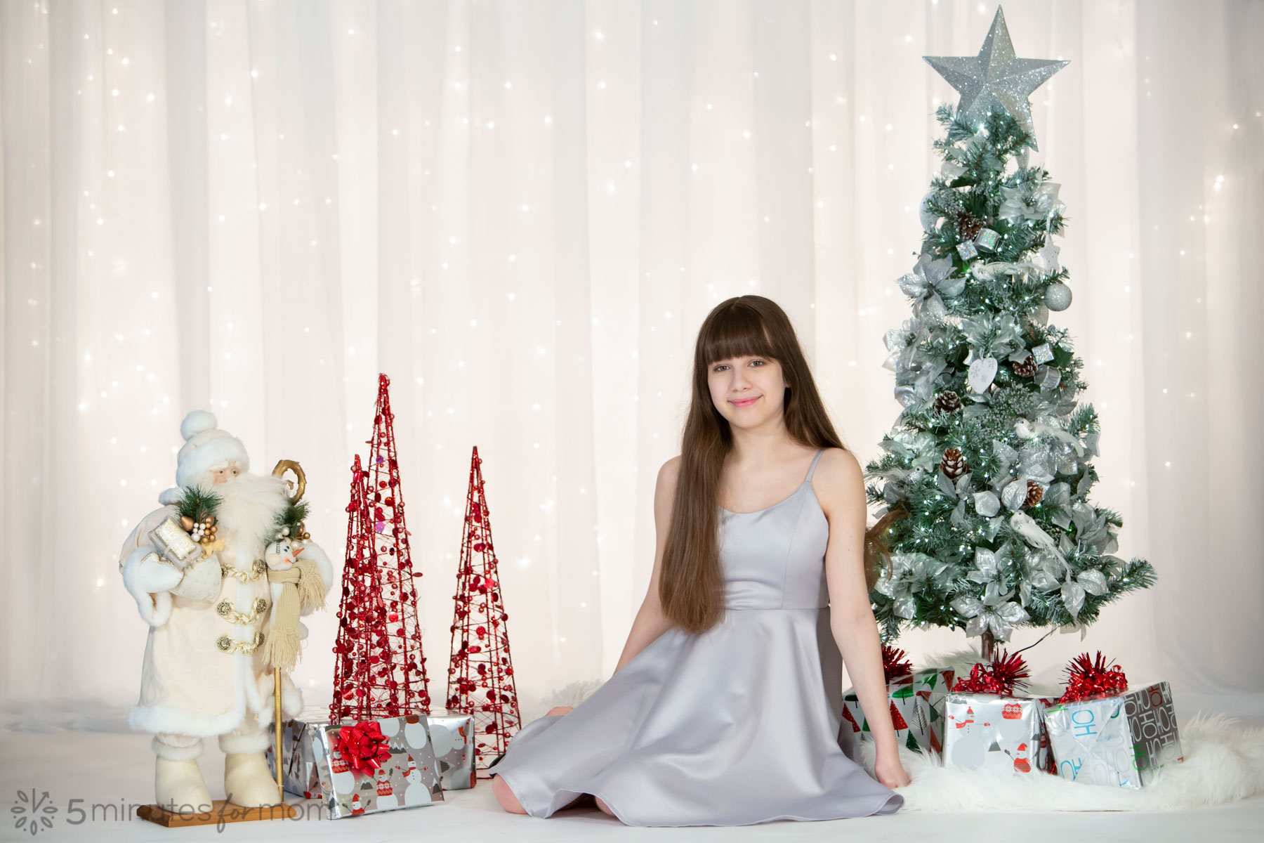 silver matte satin Christmas dress