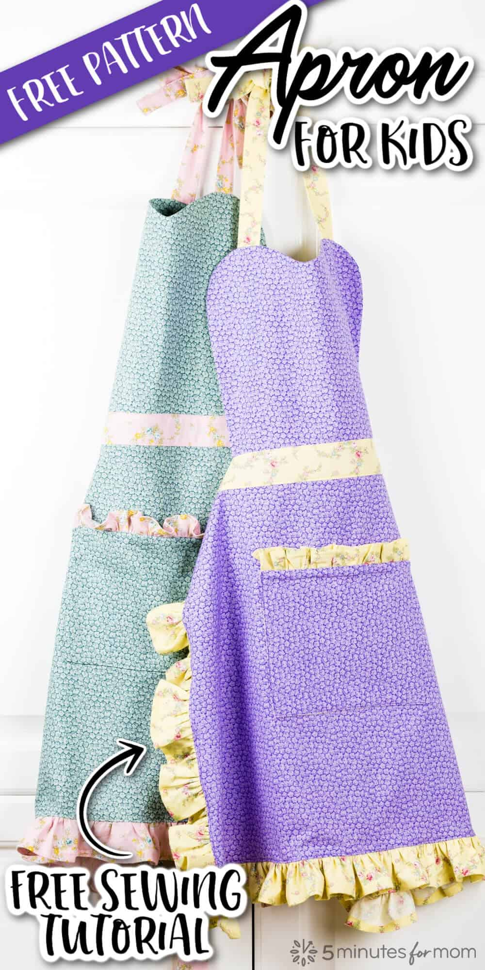 Two Handmade Aprons for Kids made with Floral Print fabrics, one in light green and the other purple. Both aprons have yellow trim. Text on image says Apron for Kids Free Pattern