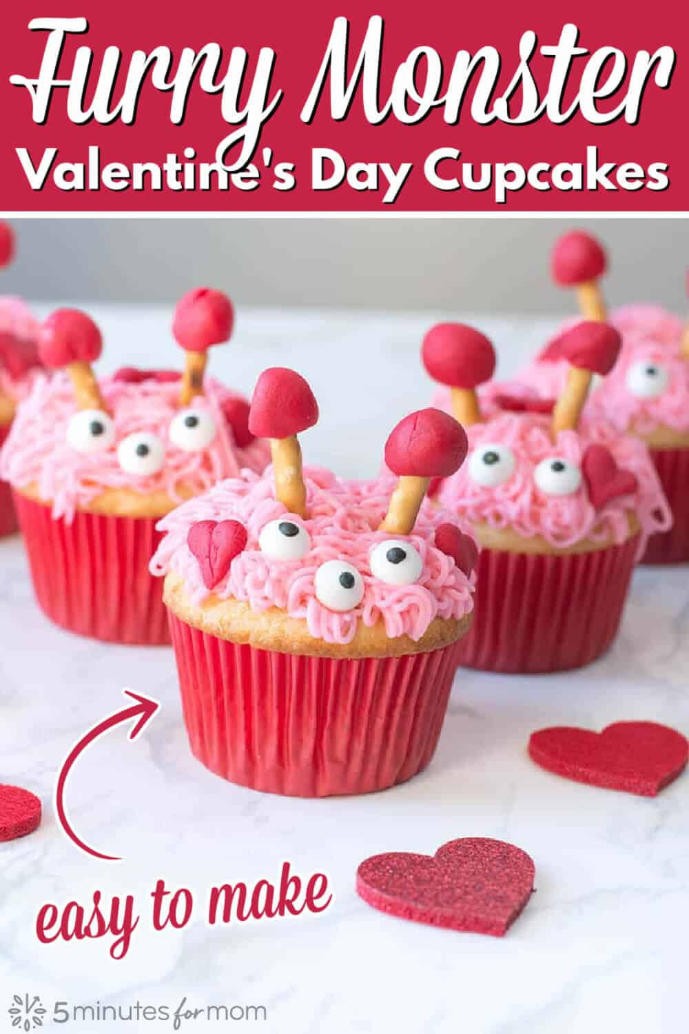 Valentines Cupcakes - Furry Monster