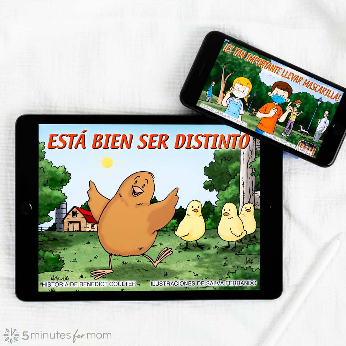 iPad and iPhone showing childrens books in Spanish and English