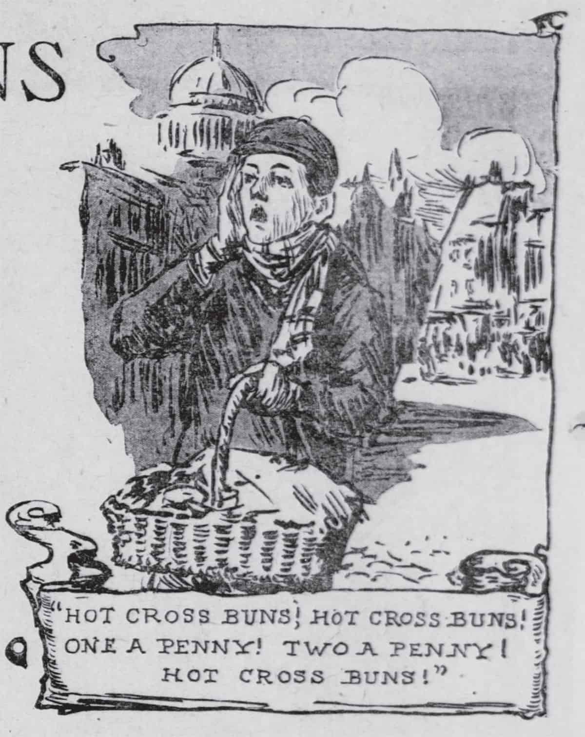 Hot Cross Buns Street Seller image from The San Francisco Call - 06 Feb 1910