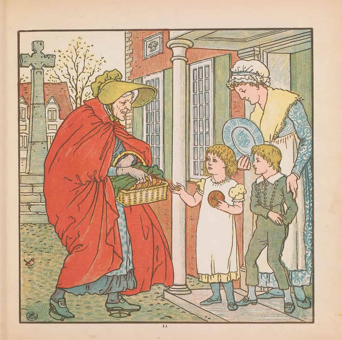 Hot Cross Buns 19th century illustration of old woman selling Hot Cross Buns to two children and their mother - from The Baby's Bouquet by Walter Crane published 1878