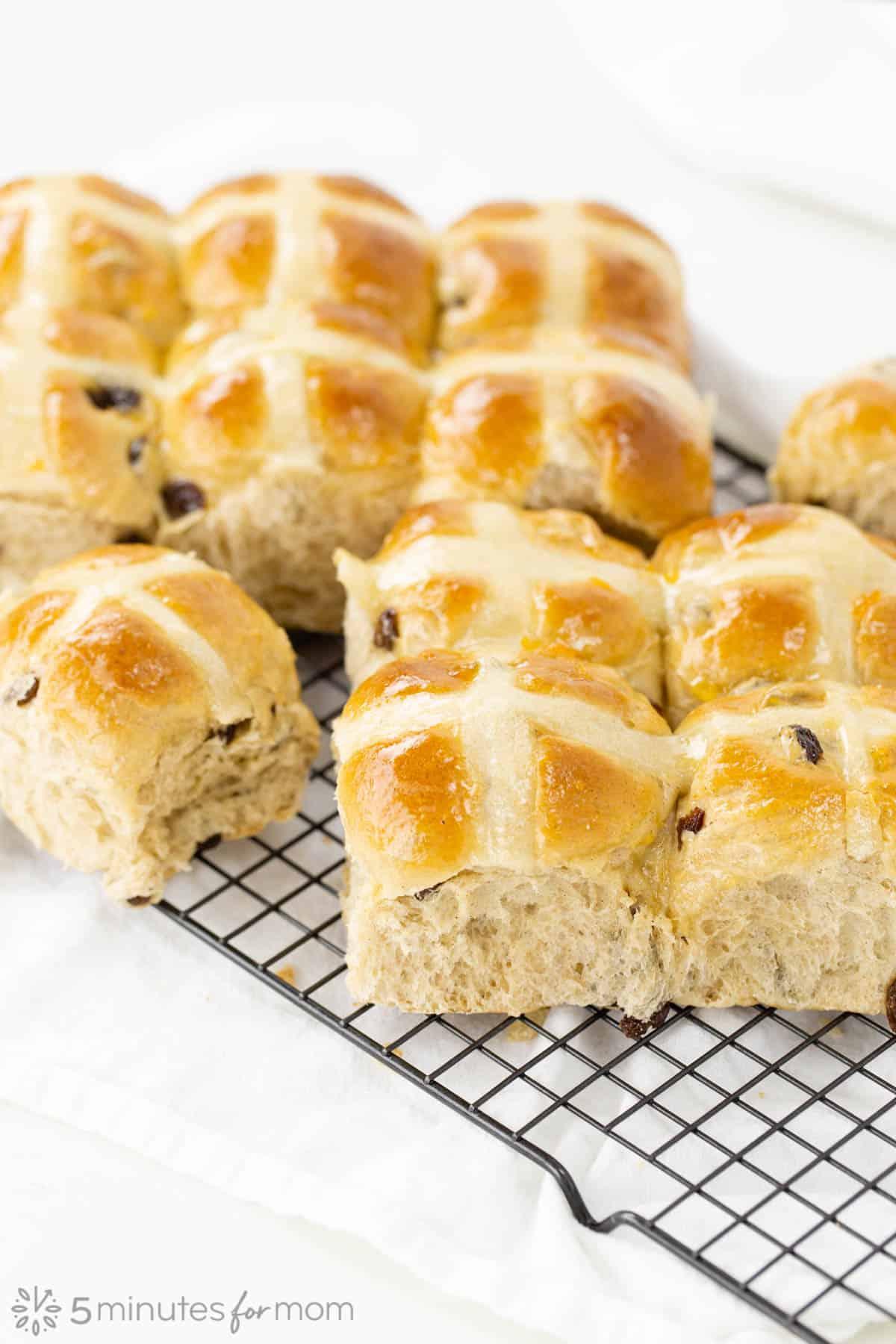 a batch of fresh fluffy homemade Hot Cross Buns