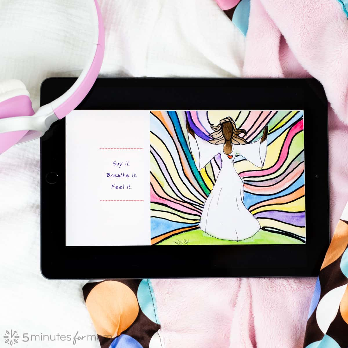 iPad showing colorful illustration from childrens book