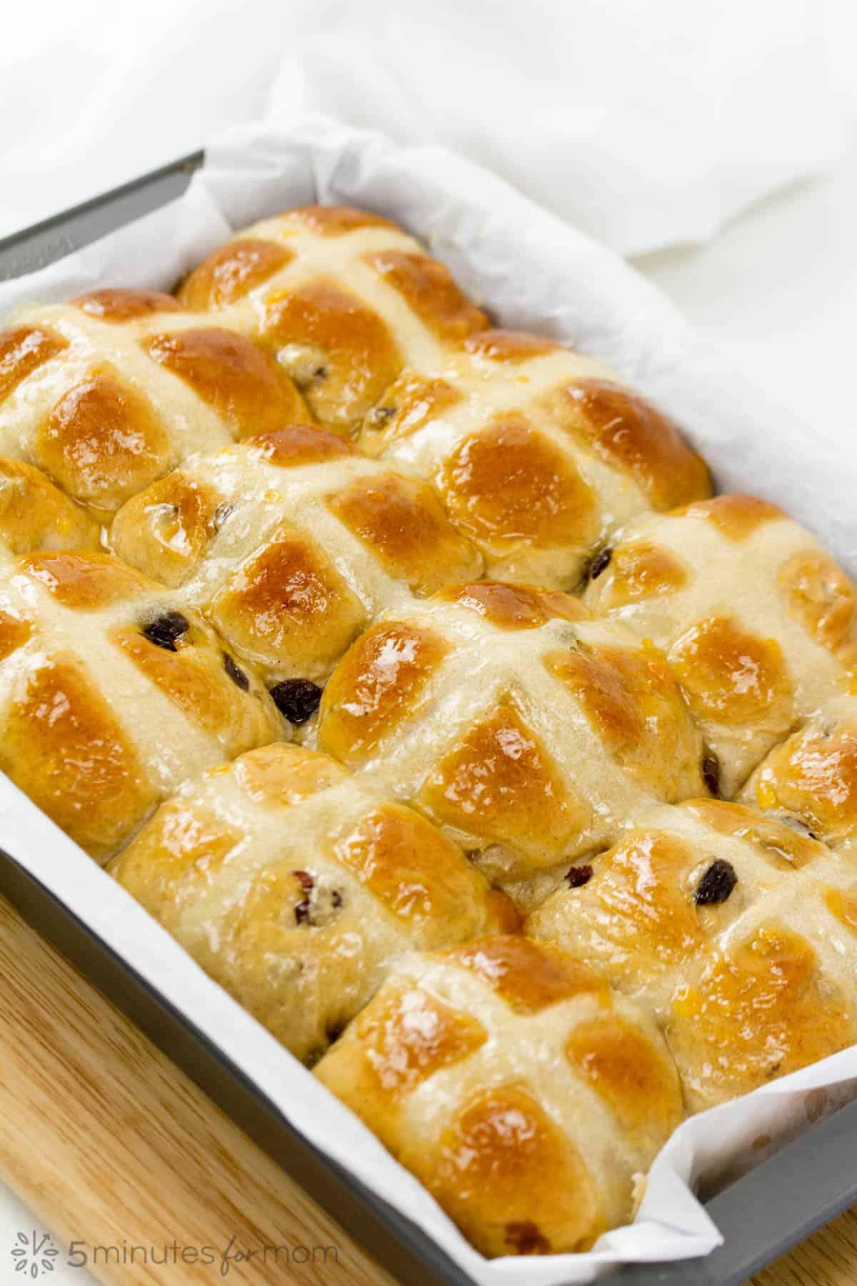 freshly glazed hot cross buns