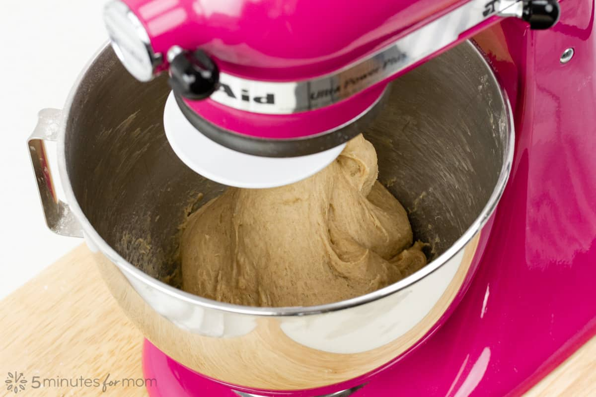 the dough pulls away from the sides of the mixing bowl when it is kneaded well