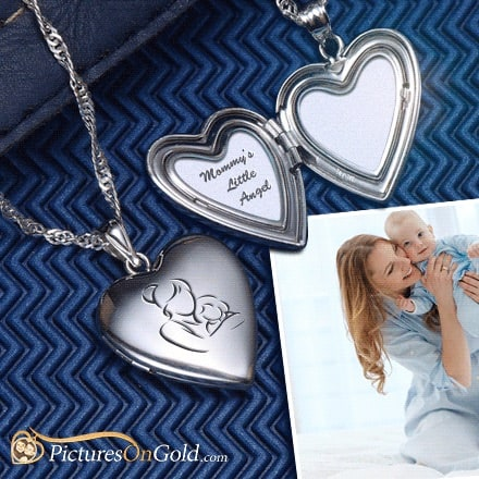 Custom sterling silver locket with lasered photos and personalized engraving