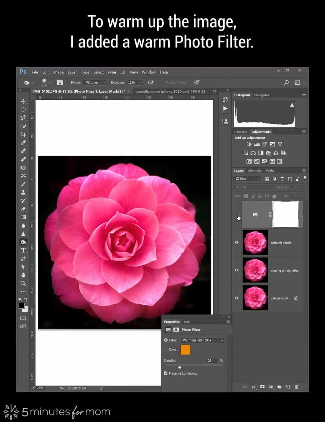 Warm Photo Filter in Photoshop