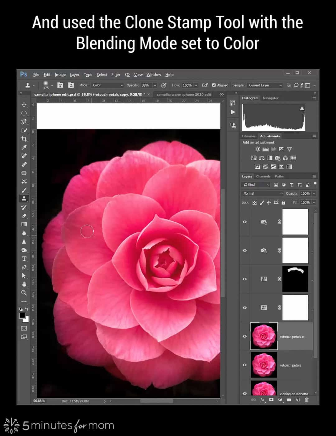 clone stamp tool with blending mode set to color