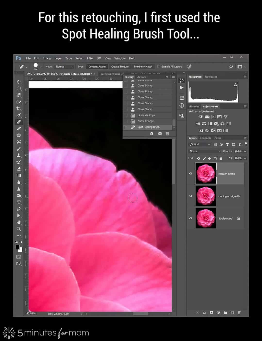 spot healing brush tool in Photoshop