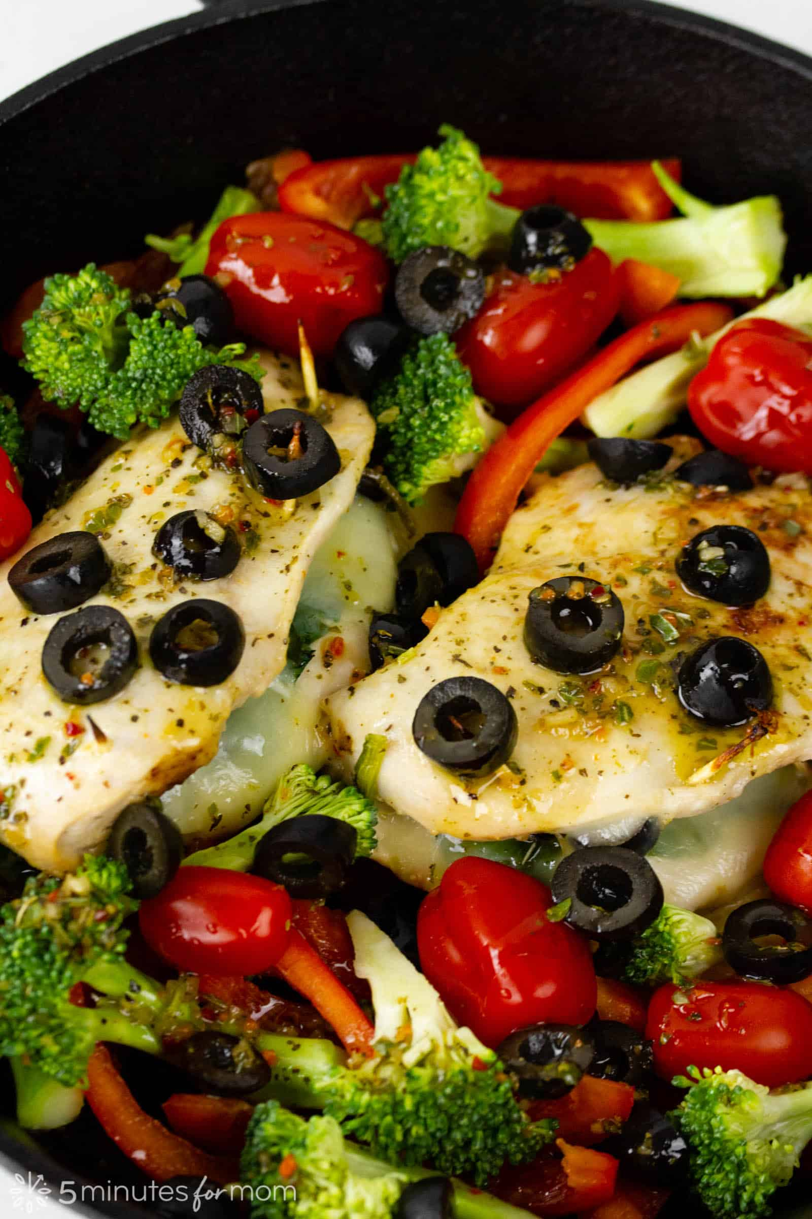 pan roasted stuffed chicken breasts with roasted vegetables