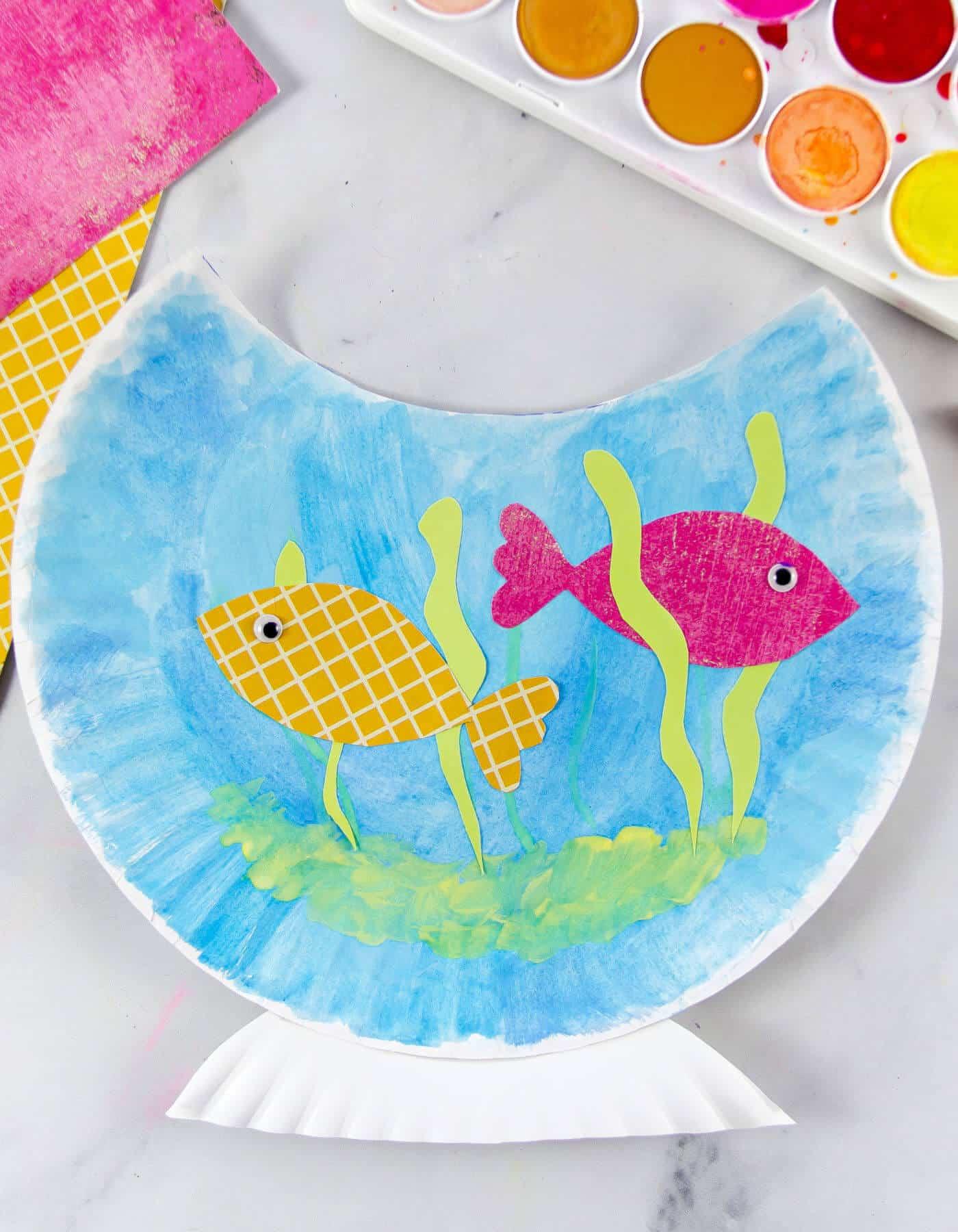 paper plate fish bowl